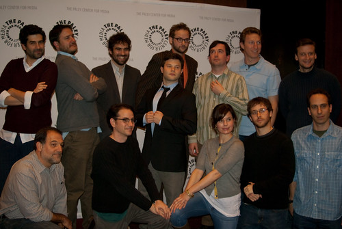 The writing staff of the Colbert Report, with moderator Zachary Kanin (center).  Photo by Sharilyn Johnson