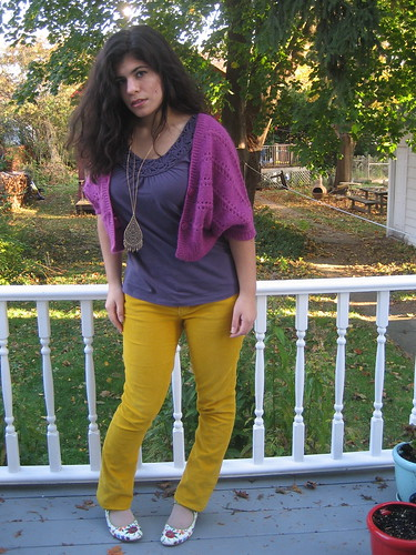 Mustard Cords, Purple Top, Magenta Shrug
