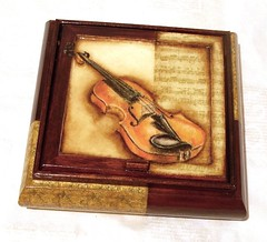 Violin concerto (Galaxi@) Tags: wood brown handmade craft violin galaxia decoupage