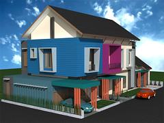 Tampak Sudut Desain Rumah Minimalis 2 Lantai by Indograha Arsitama  Desain & Build