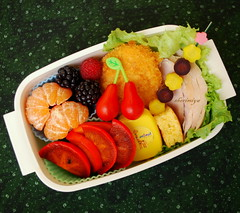 Turkey Bento (sherimiya ) Tags: school fruits turkey lunch kid tomatoes sheri potato grapes raspberry mandarin bento carrots persimmon cornbread blackberries skewer satsuma croquette obento sherimiya
