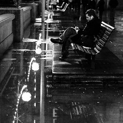 Today was a good day (Neal Bingham) Tags: street bw london night writing reflections bench square 50mm nikon south diary streetphotography bank explore puddles frontpage neal bingham londonist d90 nealbingham nealbinghamcom