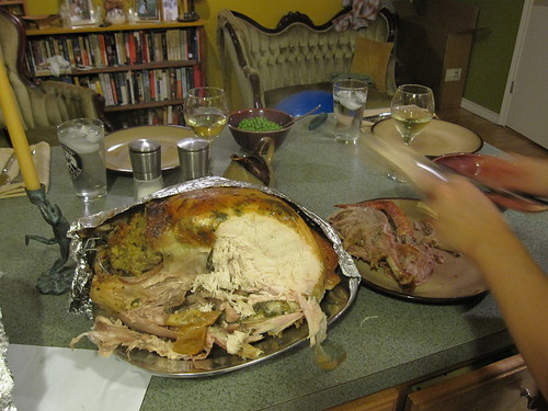 carving an underdone turkey