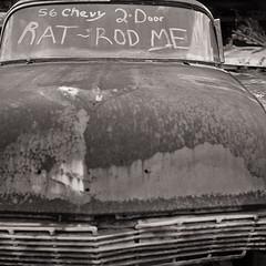 Rat-rod me! (Otto K.) Tags: blackandwhite bw 6x6 film car vintage mediumformat georgia automobile antique rangefinder squareformat vehicle folder ilforddelta100 ottok anscosuperspeedex