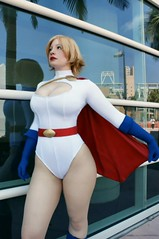 Power Girl - Cape (BelleChere) Tags: costume breasts comic cosplay superhero dccomics bodysuit leotard bellechere powergirl
