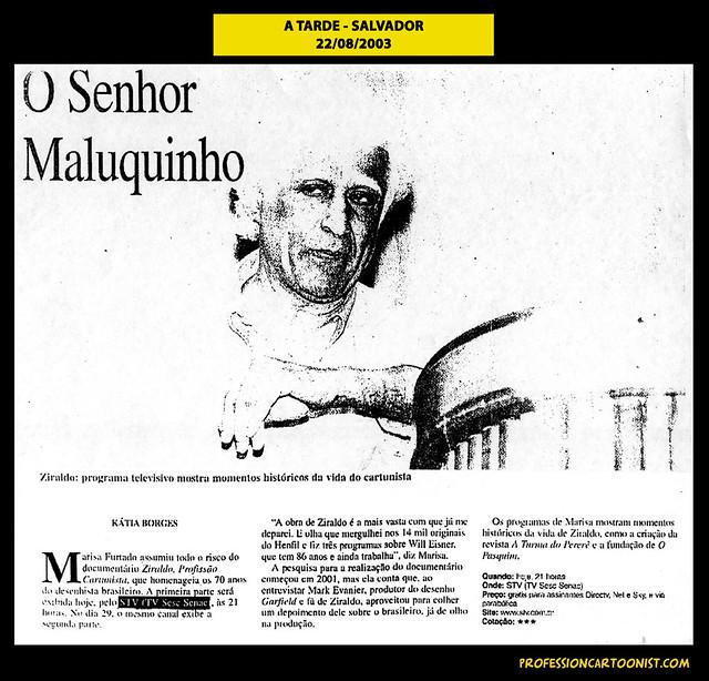 """""""O Senhor Maluquinho"""" - A Tarde - 22/08/2003"""