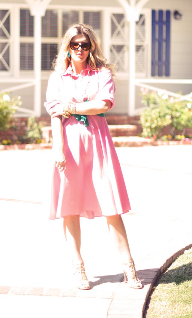 pink 50's shirt dress