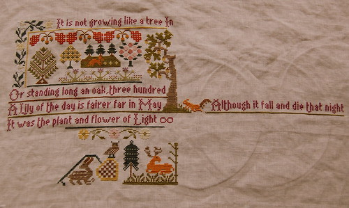 A bit more progress on my Moira Blackburn sampler