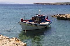 Paros Island (Cyclades - Greece) (xhachair) Tags: greece cyclad fishing boat trawler beach island paros chruch flag landscape sky cyclades île chalutier pêche bateau église blue white blanc