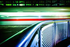 going by rail (Blende57) Tags: rail train railing station trainstation platform transportation travel departure wideangle longexposure trainstationphotography night nightphotography
