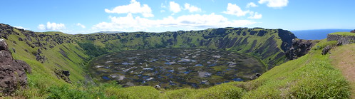Rano Kau Volcano on Easter Island - Panoramic