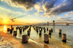 Beautiful decayed Jetty Sunset, Breathtaking in HDR (iamNigelMorris) Tags: new york old bridge sunset sun newyork beach clouds sand nikon angle mr jetty wide sigma east queens toll poles 1020mm hdr decayed rockaway farrockaway talented the nimo d40
