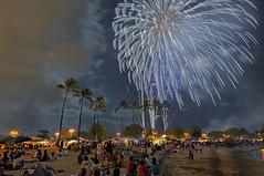 Fireworks over Ala Moana (madmarv00) Tags: beach hawaii nikon oahu fireworks palm pre honolulu 4thofjuly hdr alamoana d90 palmpre