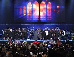Andrae Crouch Singers open the  memorial service for Michael Jackson at the Staples Center in Los Angeles, Tuesday, July 7, 2009. (AP Photo/Mark J. Terrill, Pool)