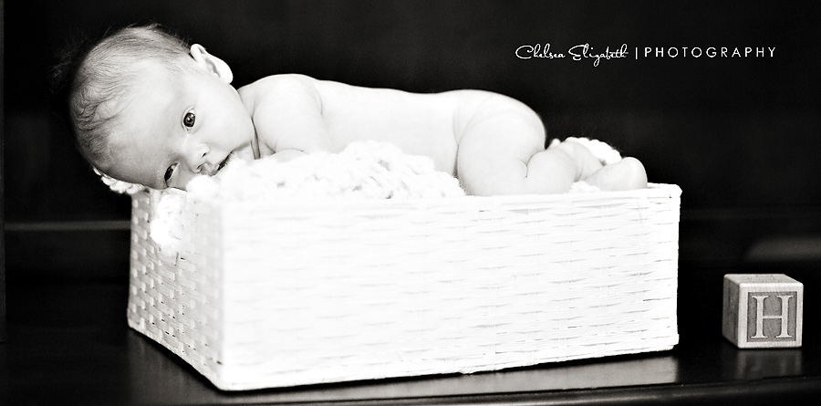 black and white nursery picture newborn in basket with blanket