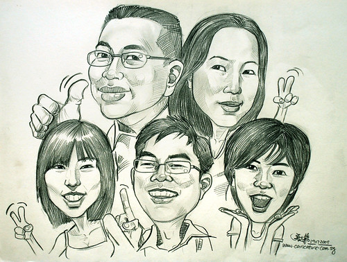 family caricatures in pencil 190709
