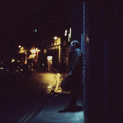Evening silence (Society Works) Tags: blue light shadow man london film dark gold evening candid south smoking backstreets hasselblad501cm