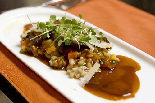 Short Ribs with Vegetable and Farro Risotto