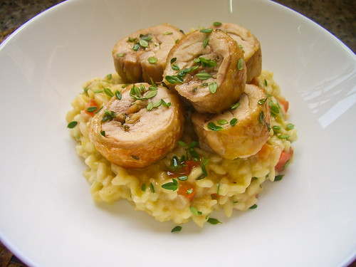 Lemon Thyme & Carrot Risotto with Roast Chicken