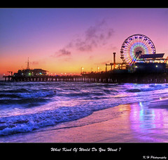 what kind of world do you want ? (kennymuz) Tags: world ocean california santa sunset wheel canon for pier do waves you five ferris powershot kind want monica wishes what fighting g10 kennymuz