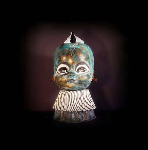 Creepy Carnivaliy Cupcake Kid Bust - from Rusty bucket Series Art Doll