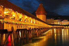Chapel bridge - Lucerne (Nino H) Tags: bridge light alps tower luz night river switzerland suisse lumire swiss luzern chapel pont baroque lucerne nuit kapellbrcke reuss abigfave