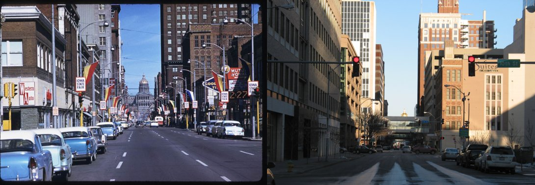9th and Locust, looking east.  1959 and 2009