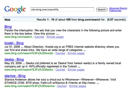 Bing Results in Google