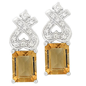 Gemstone Emerald Cut Diamond Earring