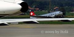 Now...and...Then (Itzl  ~~~) Tags: switzerland aircraft aviation airplanes things explore douglas dc3 2009 prop elegance swissair swisscross belp interestingness172 pentaxk10d itzl hbisc