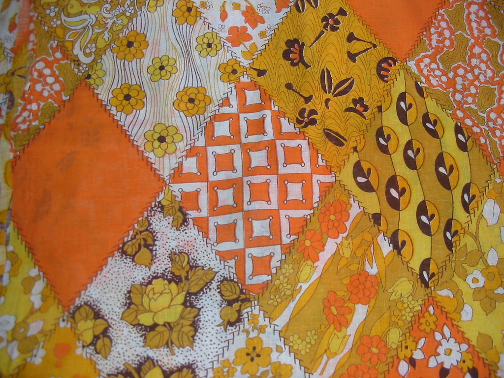 Vintage 1960's Orange Patchwork Print Fabric