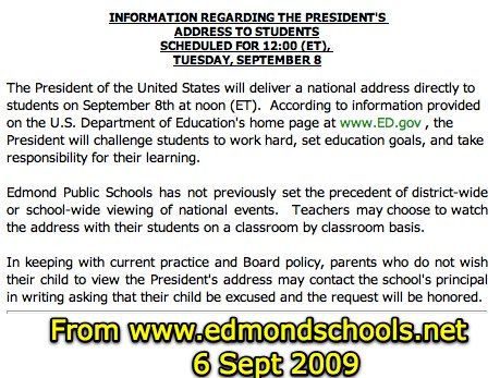 Edmond Public Schools Policy on President Obama's Address