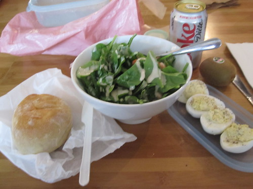 Bread ($0.80), Diet Coke ($1.25), spinach salad and deviled eggs from home, kiwi from the bistro (free)