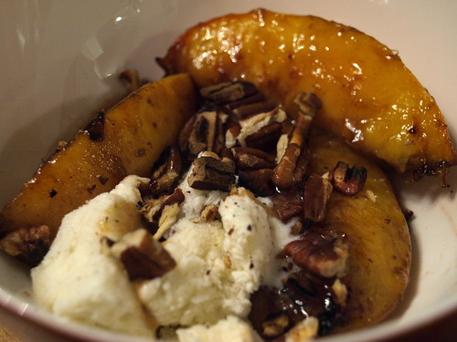 grilled peaches with ice cream and toasted pecans