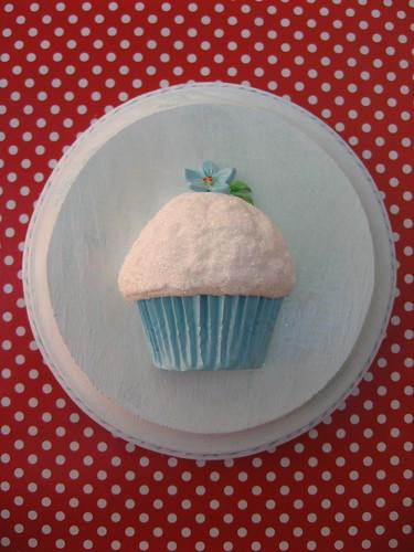 aqua posie cupcake plaque