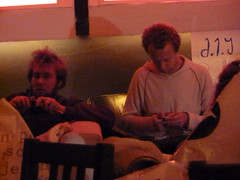 Men knitting at Ladyfest