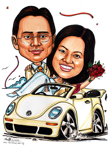 wedding couple caricatures on Beetle convertible