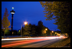 Tampere by night pt.5 (Tuomas A. Lehtinen Photography) Tags: city travel blue light sky urban tower night digital canon suomi finland dark observation eos rebel evening long exposure cityscape traffic angle dusk wide trails sigma countries nordic 1020mm tampere nsinneula nightfall tallest xti 400d platinumheartaward tripleniceshot 4timesasnice 5timesasnice ginordicsept