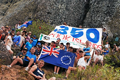 The 350 Cook Islands Group on Te Rua Manga during the Trek for Climate Action
