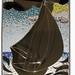 Mosaico di tessere di vetro con specchio raffigurante un veliero, realizzato artigianalmente a mano dai maestri vetrai della Vero s.n.c. mosaico in vetro con specchio