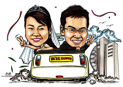 couple wedding caricatures on mini Cooper convertible @ SIngapore Polytechnic A4