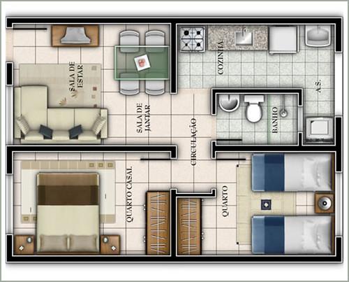planta de casa com 2 quarto