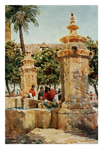 021-Córdoba-Fuente en el Patio de los Naranjos-Cathedral cities of Spain 1909- W.W Collins