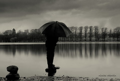 Rain,rain and more rain........ (Nicolas Valentin) Tags: black wet rain stone umbrella scotland scenery loch bardowie