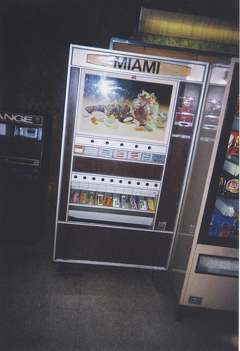 Candy vending machine inside Marzano's Miami Bowl. Chicago Illinois. September 2004.