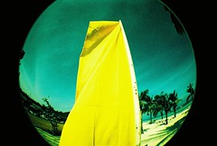 yellow beach flag (darkcanopy) Tags: green film beach yellow analog xpro lomography crossprocessed kodak crossprocess flag philippines wide lofi slide fisheye bohol analogue fe ph elitechrome  lomograph panglao lowfi lsi  fe2 fisheye2 xprod ebx lomographyfisheye 170degrees 170 lsifisheye elitechromeextracolors elitechromeextracolors100