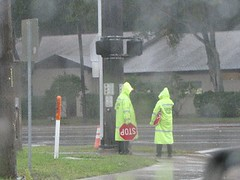 crossing guards in the rain