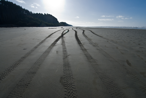 tire tracks on the beach