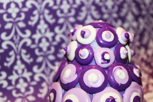 retro purple cake closeup