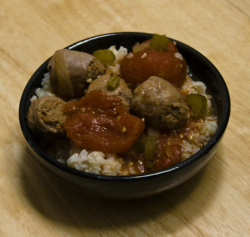 Turkey Sausage and Tomato over Rice
